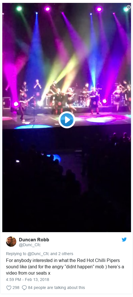"Twitter post by @Dunc_Cfc: For anybody interested in what the Red Hot Chilli Pipers sound like (and for the angry ""didnt happen"" mob ) here's a video from our seats x"