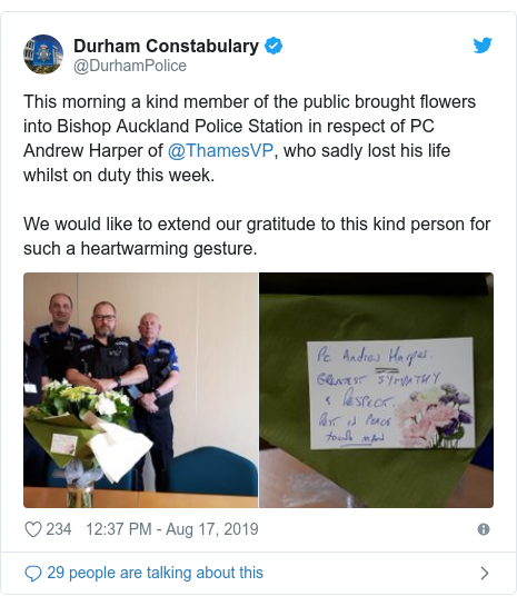 Twitter post by @DurhamPolice: This morning a kind member of the public brought flowers into Bishop Auckland Police Station in respect of PC Andrew Harper of @ThamesVP, who sadly lost his life whilst on duty this week.We would like to extend our gratitude to this kind person for such a heartwarming gesture.