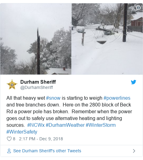 Twitter post by @DurhamSheriff: All that heavy wet #snow is starting to weigh #powerlines and tree branches down.  Here on the 2800 block of Beck Rd a power pole has broken.  Remember when the power goes out to safely use alternative heating and lighting sources.  #NCWx #DurhamWeather #WinterStorm #WinterSafety