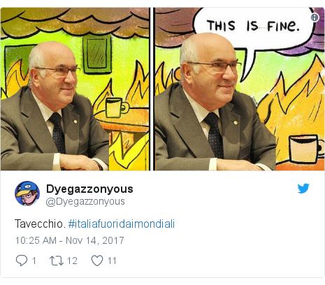 Twitter post by @Dyegazzonyous: Tavecchio. #italiafuoridaimondiali