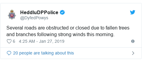 Twitter post by @DyfedPowys: Several roads are obstructed or closed due to fallen trees and branches following strong winds this morning.