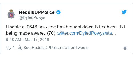 Twitter post by @DyfedPowys: Update at 0646 hrs - tree has brought down BT cables.   BT being made aware.  (70)