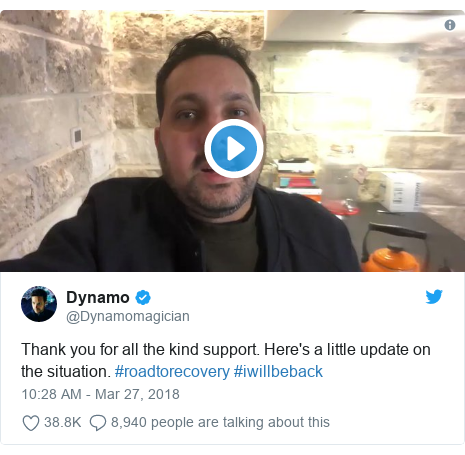 Twitter post by @Dynamomagician: Thank you for all the kind support. Here's a little update on the situation. #roadtorecovery #iwillbeback
