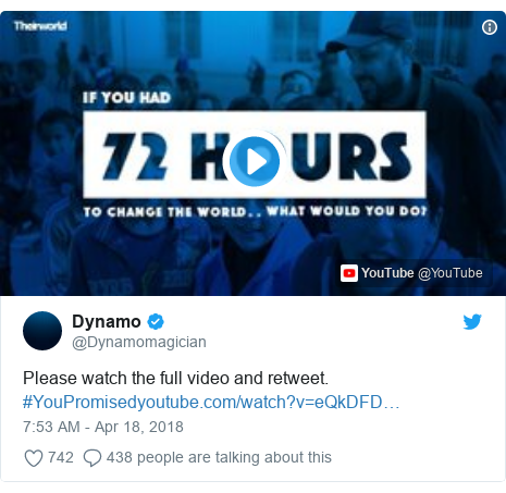 Twitter post by @Dynamomagician: Please watch the full video and retweet. #YouPromised