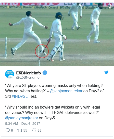 """Twitter හි @E5BNcricinfo කළ පළකිරීම: """"Why are SL players wearing masks only when fielding? Why not when batting?""""   - @sanjaymanjrekar  on Day-2 of 3rd #INDvSL Test.  """"Why should Indian bowlers get wickets only with legal deliveries? Why not with ILLEGAL deliveries as well?""""   -@sanjaymanjrekar on Day-5."""