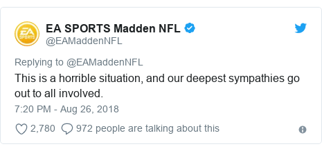 Twitter post by @EAMaddenNFL: This is a horrible situation, and our deepest sympathies go out to all involved.