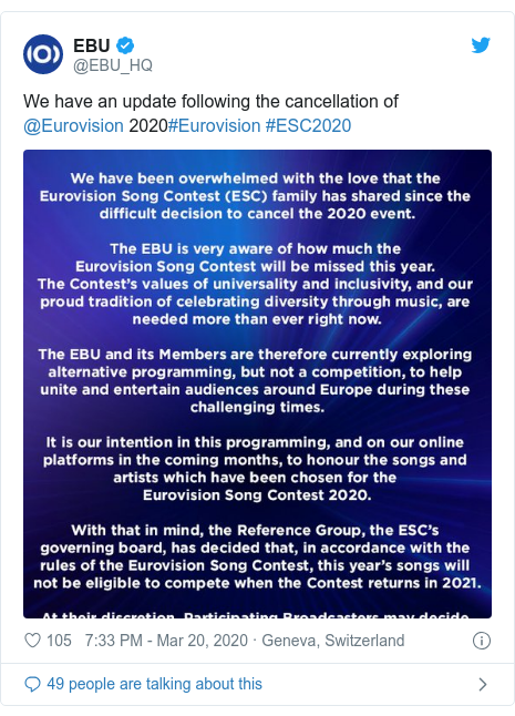Twitter post by @EBU_HQ: We have an update following the cancellation of @Eurovision 2020#Eurovision #ESC2020