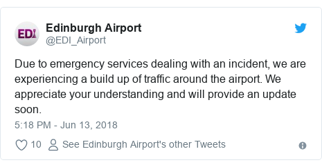Twitter post by @EDI_Airport: Due to emergency services dealing with an incident, we are experiencing a build up of traffic around the airport. We appreciate your understanding and will provide an update soon.