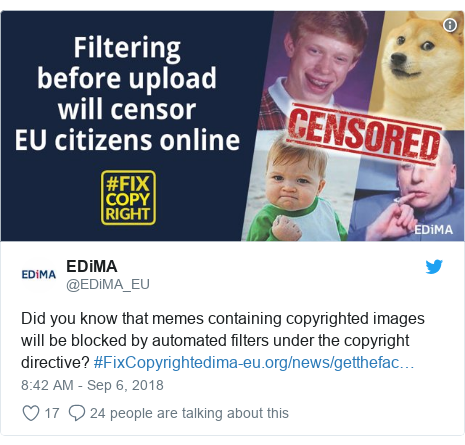 Twitter post by @EDiMA_EU: Did you know that memes containing copyrighted images will be blocked by automated filters under the copyright directive? #FixCopyright