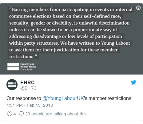 Twitter post by @EHRC: Our response to @YoungLabourUK's member restrictions