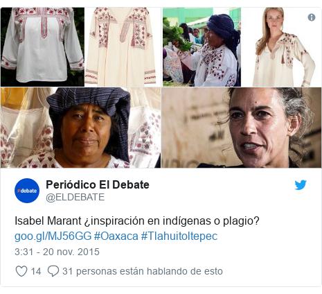 Publicación de Twitter por @ELDEBATE: Isabel Marant ¿inspiración en indígenas o plagio?  #Oaxaca #Tlahuitoltepec
