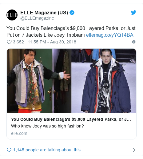 Twitter post by @ELLEmagazine: You Could Buy Balenciaga's $9,000 Layered Parka, or Just Put on 7 Jackets Like Joey Tribbiani