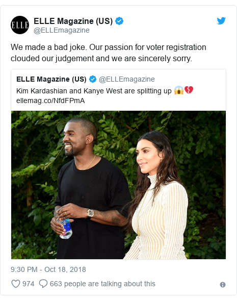 Twitter post by @ELLEmagazine: We made a bad joke. Our passion for voter registration clouded our judgement and we are sincerely sorry.