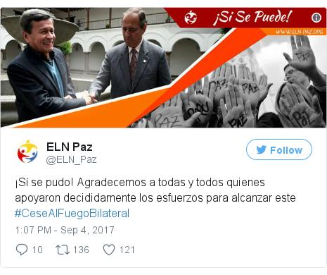 Twitter post by @ELN_Paz: ¡Sí se pudo! Agradecemos a todas y todos quienes apoyaron decididamente los esfuerzos para alcanzar este #CeseAlFuegoBilateral pic.twitter.com/DVUqcqLGmJ