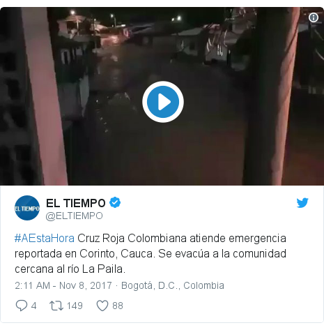 Twitter post by @ELTIEMPO: #AEstaHora Cruz Roja Colombiana atiende emergencia reportada en Corinto, Cauca. Se evacúa a la comunidad cercana al río La Paila.