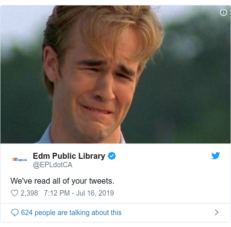 Twitter post by @EPLdotCA: We've read all of your tweets.