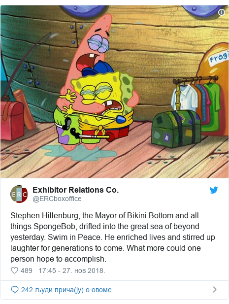 Twitter post by @ERCboxoffice: Stephen Hillenburg, the Mayor of Bikini Bottom and all things SpongeBob, drifted into the great sea of beyond yesterday. Swim in Peace. He enriched lives and stirred up laughter for generations to come. What more could one person hope to accomplish.