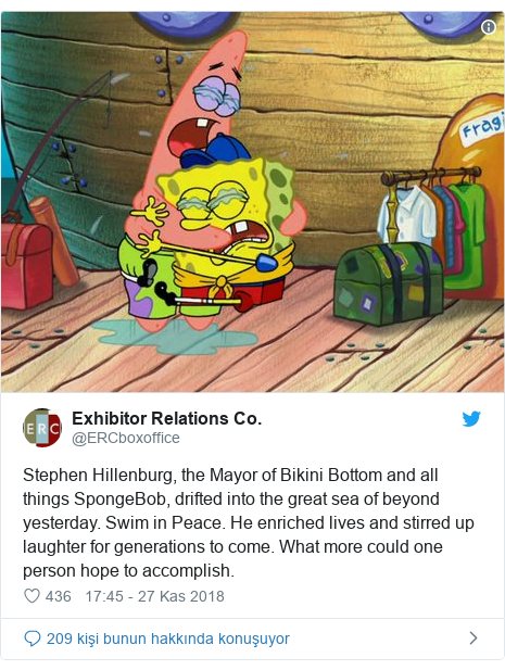 @ERCboxoffice tarafından yapılan Twitter paylaşımı: Stephen Hillenburg, the Mayor of Bikini Bottom and all things SpongeBob, drifted into the great sea of beyond yesterday. Swim in Peace. He enriched lives and stirred up laughter for generations to come. What more could one person hope to accomplish.