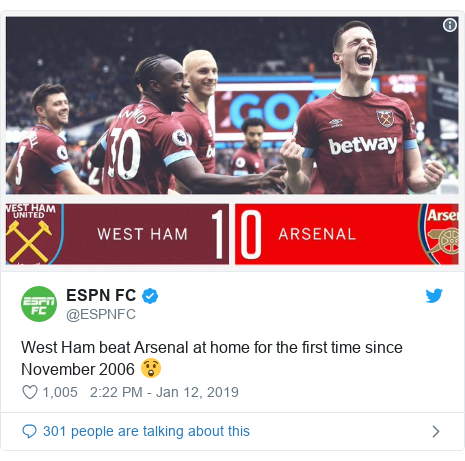 Twitter post by @ESPNFC: West Ham beat Arsenal at home for the first time since November 2006 😲