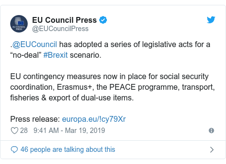 """Twitter post by @EUCouncilPress: .@EUCouncil has adopted a series of legislative acts for a """"no-deal"""" #Brexit scenario. EU contingency measures now in place for social security coordination, Erasmus+, the PEACE programme, transport, fisheries & export of dual-use items.Press release"""