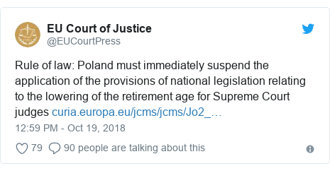Twitter post by @EUCourtPress: Rule of law  Poland must immediately suspend the application of the provisions of national legislation relating to the lowering of the retirement age for Supreme Court judges