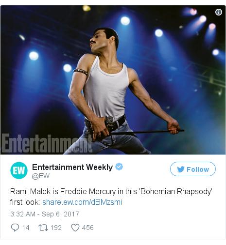 Twitter post by @EW: Rami Malek is Freddie Mercury in this 'Bohemian Rhapsody' first look  https //t.co/MEBDvQymdB pic.twitter.com/z7N5OCWHuK
