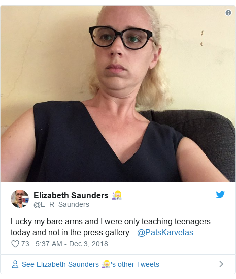Twitter post by @E_R_Saunders: Lucky my bare arms and I were only teaching teenagers today and not in the press gallery... @PatsKarvelas