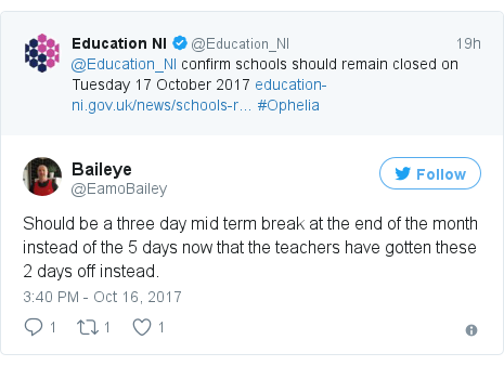 Twitter post by @EamoBailey: Should be a three day mid term break at the end of the month instead of the 5 days now that the teachers have gotten these 2 days off instead.