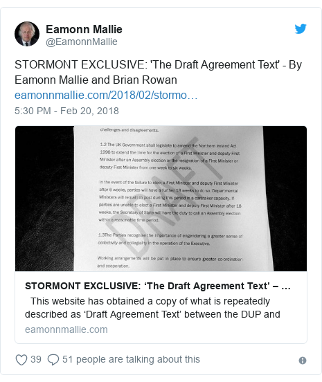 Twitter post by @EamonnMallie: STORMONT EXCLUSIVE  'The Draft Agreement Text' - By Eamonn Mallie and Brian Rowan