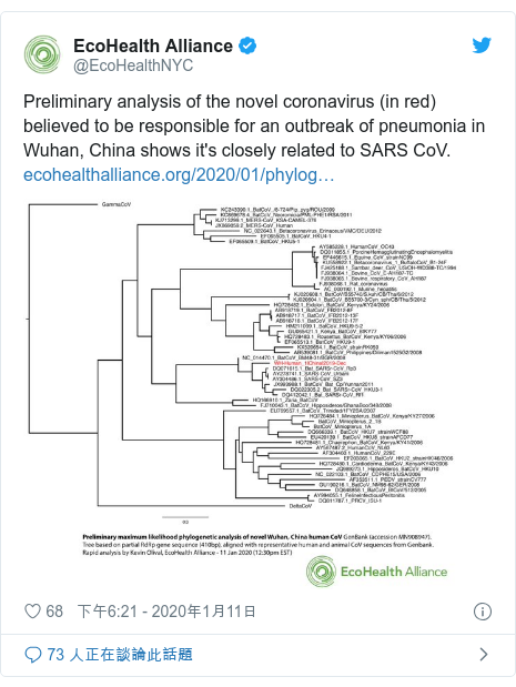 Twitter 用戶名 @EcoHealthNYC: Preliminary analysis of the novel coronavirus (in red) believed to be responsible for an outbreak of pneumonia in Wuhan, China shows it's closely related to SARS CoV.