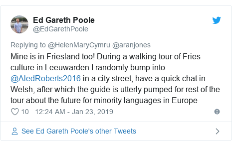 Twitter post by @EdGarethPoole: Mine is in Friesland too! During a walking tour of Fries culture in Leeuwarden I randomly bump into @AledRoberts2016 in a city street, have a quick chat in Welsh, after which the guide is utterly pumped for rest of the tour about the future for minority languages in Europe