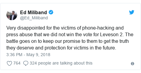Twitter post by @Ed_Miliband: Very disappointed for the victims of phone-hacking and press abuse that we did not win the vote for Leveson 2. The battle goes on to keep our promise to them to get the truth they deserve and protection for victims in the future.