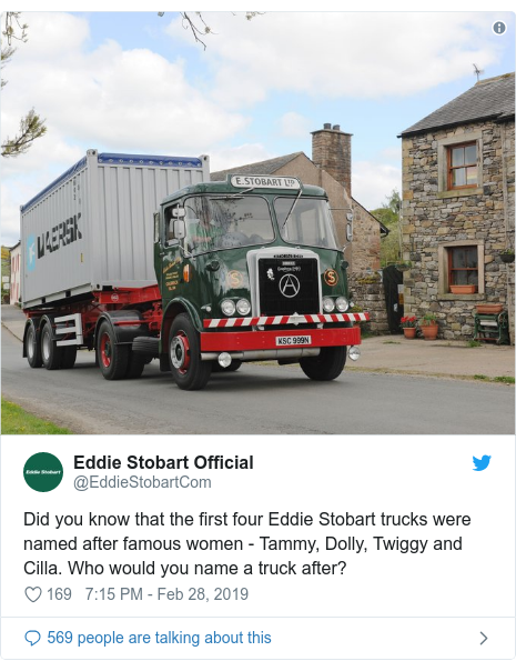Twitter post by @EddieStobartCom: Did you know that the first four Eddie Stobart trucks were named after famous women - Tammy, Dolly, Twiggy and Cilla. Who would you name a truck after?