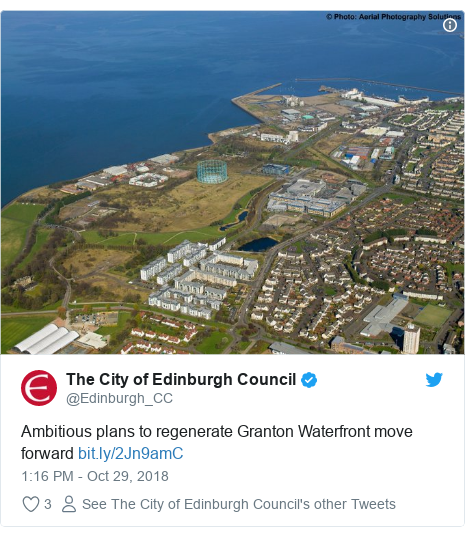 Twitter post by @Edinburgh_CC: Ambitious plans to regenerate Granton Waterfront move forward