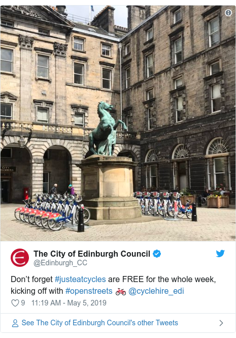 Twitter post by @Edinburgh_CC: Don't forget #justeatcycles are FREE for the whole week, kicking off with #openstreets 🚲 @cyclehire_edi