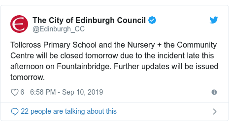 Twitter post by @Edinburgh_CC: Tollcross Primary School and the Nursery + the Community Centre will be closed tomorrow due to the incident late this afternoon on Fountainbridge. Further updates will be issued tomorrow.