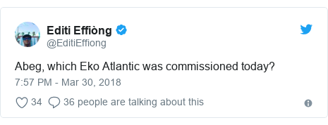 Twitter post by @EditiEffiong: Abeg, which Eko Atlantic was commissioned today?