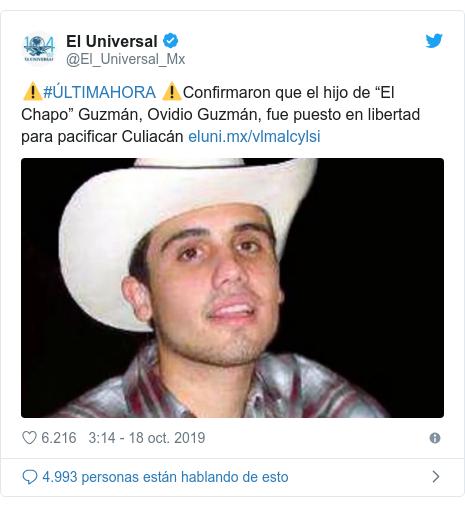 """Publicación de Twitter por @El_Universal_Mx: ⚠️#ÚLTIMAHORA ⚠️Confirmaron que el hijo de """"El Chapo"""" Guzmán, Ovidio Guzmán, fue puesto en libertad para pacificar Culiacán"""