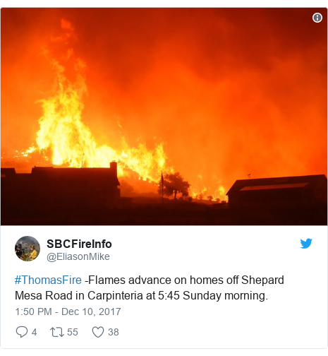 Twitter post by @EliasonMike: #ThomasFire -Flames advance on homes off Shepard Mesa Road in Carpinteria at 5 45 Sunday morning.