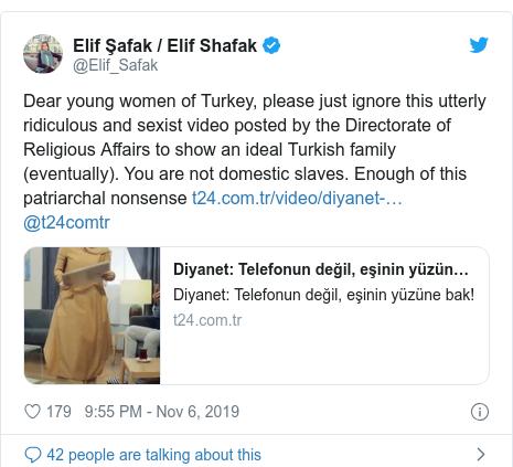 د @Elif_Safak په مټ ټویټر  تبصره : Dear young women of Turkey, please just ignore this utterly ridiculous and sexist video posted by the Directorate of Religious Affairs to show an ideal Turkish family (eventually). You are not domestic slaves. Enough of this patriarchal nonsense  @t24comtr