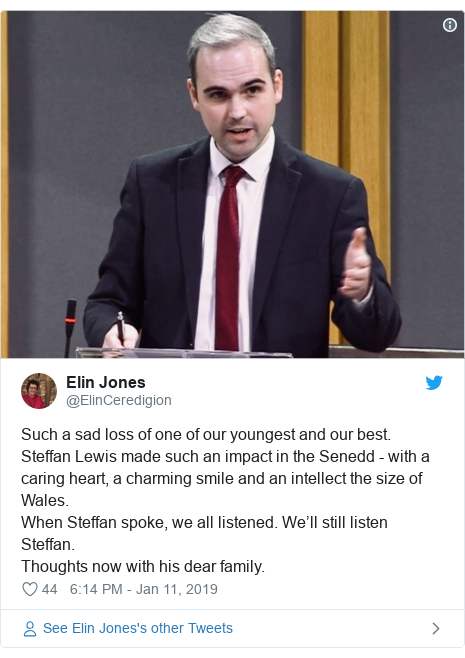 Twitter post by @ElinCeredigion: Such a sad loss of one of our youngest and our best. Steffan Lewis made such an impact in the Senedd - with a caring heart, a charming smile and an intellect the size of Wales. When Steffan spoke, we all listened. We'll still listen Steffan. Thoughts now with his dear family.
