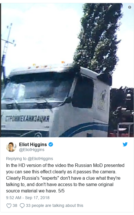 """Twitter post by @EliotHiggins: In the HD version of the video the Russian MoD presented you can see this effect clearly as it passes the camera. Clearly Russia's """"experts"""" don't have a clue what they're talking to, and don't have access to the same original source material we have. 5/5"""