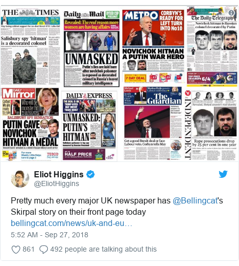 Twitter post by @EliotHiggins: Pretty much every major UK newspaper has @Bellingcat's Skirpal story on their front page today