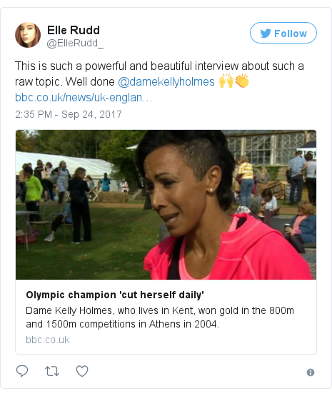 Twitter post by @ElleRudd_: This is such a powerful and beautiful interview about such a raw topic. Well done @damekellyholmes  🙌👏https //t.co/zzcQXyxxAC
