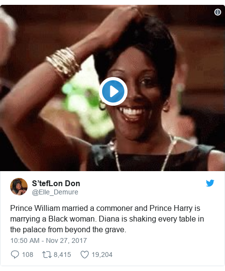 Twitter post by @Elle_Demure: Prince William married a commoner and Prince Harry is marrying a Black woman. Diana is shaking every table in the palace from beyond the grave.