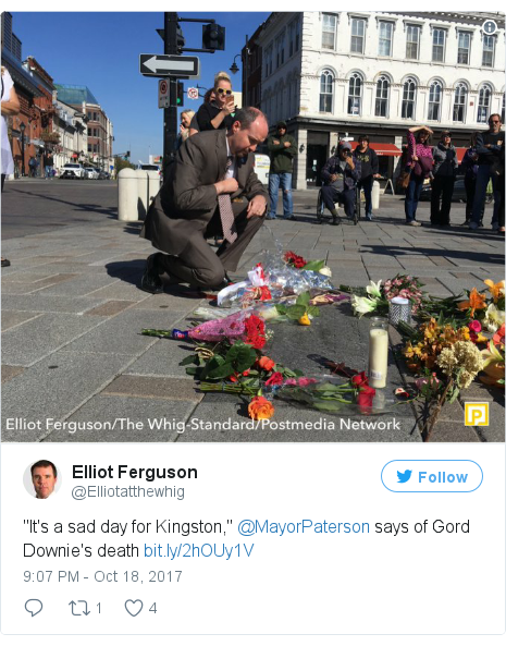 "Twitter post by @Elliotatthewhig: ""It's a sad day for Kingston,"" @MayorPaterson says of Gord Downie's death"
