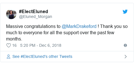 Twitter post by @Eluned_Morgan: Massive congratulations to @MarkDrakeford ! Thank you so much to everyone for all the support over the past few months.