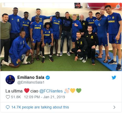 Twitter post by @EmilianoSala1: La ultima ❤️ ciao @FCNantes 👋🏻💛💚