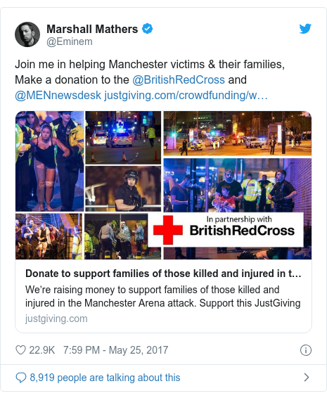 Twitter post by @Eminem: Join me in helping Manchester victims & their families,  Make a donation to the @BritishRedCross and @MENnewsdesk