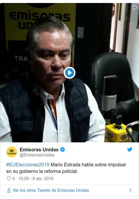 Publicación de Twitter por @EmisorasUnidas: #EUElecciones2019 Mario Estrada habla sobre impulsar en su gobierno la reforma policial.